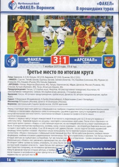 Факел(Воронеж)-Газовик(Оренбург)